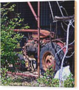 Tractor In Shed Wood Print