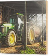 Tractor In The Morning Wood Print
