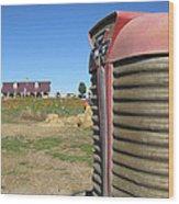Tractor On The Pumpkin Farm Wood Print