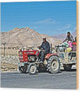 Tractor Towing A Wagon Along The Road To Shigatse-tibet Wood Print