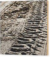 Tractor Tracks In Dry Mud Wood Print