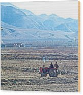 Tractor Used In Farming Along The Road To Shigatse-tibet Wood Print
