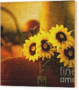 Tractors And Sunflowers Wood Print