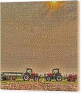 Tractors At Noon Wood Print