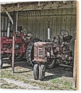 Tractors In The Shed Wood Print
