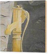 Tradional Irish Roadside Pump Wood Print by Siobhan Lawson