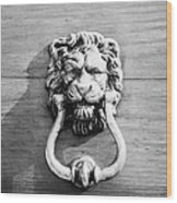 traditional antique brass lion head door knocker on wooden door Tenerife Canary Islands Spain Wood Print
