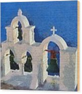 Traditional Belfry In Oia Town Wood Print