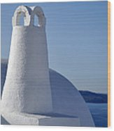 Traditional Chimney In Oia Town Wood Print