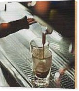 Traditional Espresso Coffee And Machine  Wood Print