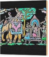 Traditional Indian Ancient Wedding Procession  Emboss Painting Wood Print by Bhavana Menon