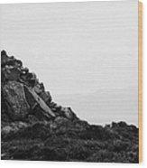 Traditional Irish Stone Cairn Basalt Stones On Rathlin Island Looking Towards Fair Head Antrim  Wood Print