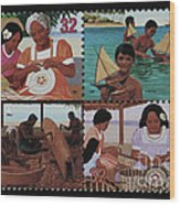 Traditional Pacific Handicrafts Postage Stamp Print Wood Print