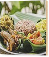 Traditional Vegetarian Curry With Rice In Bali Indonesia Wood Print