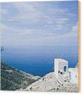 Traditional Windmill On Karpathos Island - Greece Wood Print