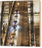Traffic- Chain Bridge Budapest At Night Wood Print