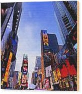 Traffic Cop In Times Square New York City Wood Print