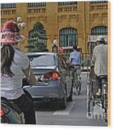Traffic In Downtown Hanoi Wood Print by Sami Sarkis
