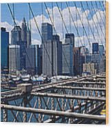 Traffic On A Bridge, Brooklyn Bridge Wood Print