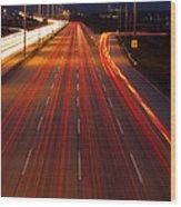 Traffic Trails At Twilight Wood Print