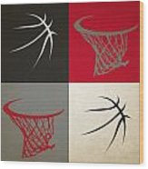 Trail Blazers Ball And Hoop Wood Print