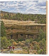 Trail View Of Spruce Tree House On Chapin Mesa In Mesa Verde National Park-colorado Wood Print