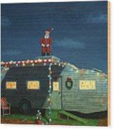 Trailer House Christmas Wood Print