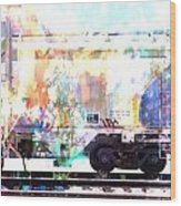 Train Abstract Blend 4 Wood Print