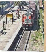 Train At Delhi Station Wood Print