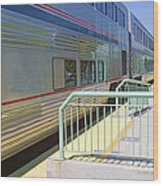 Train At Station Stop Wood Print