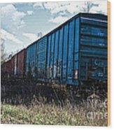 Train Boxcars Wood Print