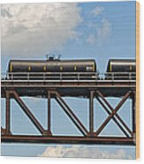 Train Cars On The Bridge Wood Print
