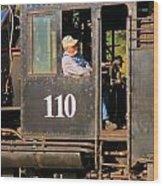 Train Conductor Wood Print
