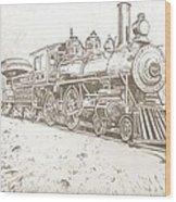 Train Drawing Wood Print
