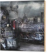 Train - Engine - 1218 - Waiting For Departure Wood Print