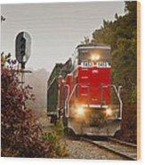 Train Engine Wood Print