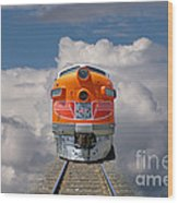 Train In Clouds Wood Print