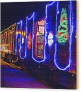 Train Of Lights Wood Print