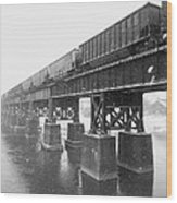 Train On A Trestle Wood Print