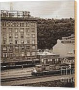 Train Passes Station Square Pittsburgh Antique Look Wood Print