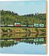 Train Reflecting Wood Print