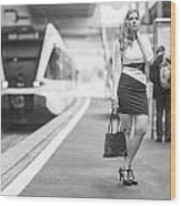 Train Station - Waiting Wood Print
