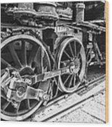 Train - Steam Engine Wheels - Black And White Wood Print