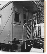 Train - The Caboose - Black And White Wood Print