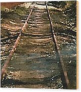 Train Track To Hell Wood Print