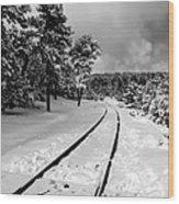 Train Tracks In The Snow Wood Print