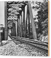Train Trestle In B/w Wood Print