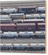 Train Wagons, South Portland Wood Print