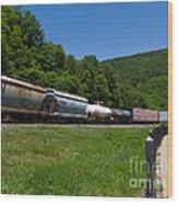 Train Watching At The Horseshoe Curve Altoona Pennsylvania Wood Print