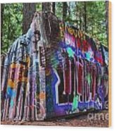 Train Wreck Art In The Forest Wood Print